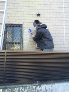 壁の油洗浄中